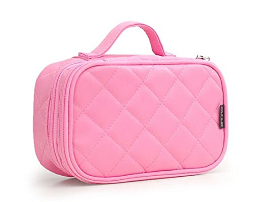 Borsa Cosmetica, ONEGenug Borsa Make Up, Trousse make up 20 * 12 * 8 cm Doppio Strato con Specchio per le Donne (rosa)