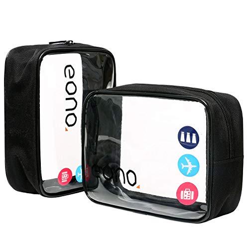 Eono by Amazon - Beauty Case da Viaggio Clear Borsa da Viaggio Impermeabile Cosmetici Trousse Trasparente Toiletry Bag Kit da Aereo per Liquidi Sacchetti di Trucco per Uomini e Donne, Nero, 2 Pcs
