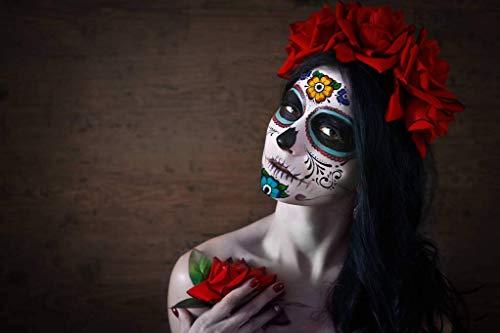 Tatuaggi temporanei per il viso di Halloween, 8 pezzi per il tatuaggio del viso floreale del teschio di zucchero del giorno dei morti per la festa di Halloween dei bambini adulti (Adesivi viso)