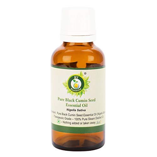 Olio essenziale seme cumino nero | Nigella Sativa | Per capelli | Per viso | 100% puro | Distillato a vapore | Grade terapeutico | Black Cumin Seed Essential Oil |30ml | 1.01oz By R V Essential