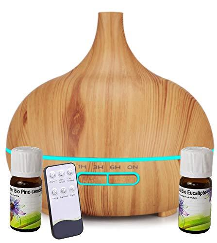Diffusore di Oli Essenziali 400ml con telecomando e olio essenziali 10 ml Bio Pino cembro (Cirmolo) Alto Adige e 10 ml Bio Eucalipto - Eucaliptus globulus