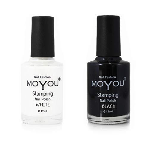 Moyou - Set di 2 smalti per stamping unghie, colore: bianco e nero Bianco e nero, per creazioni con la nail art.