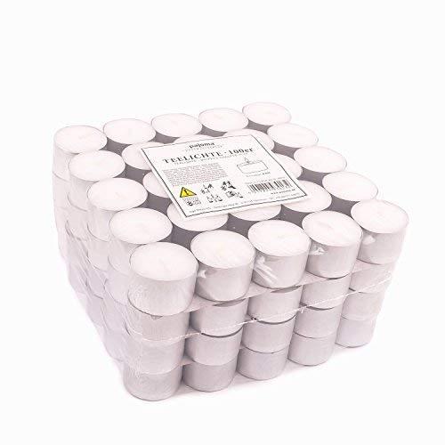Pajoma - Candele tealight, Senza Profumo, 100 Pezzi, Durata: 8 Ore Candeline Gastro