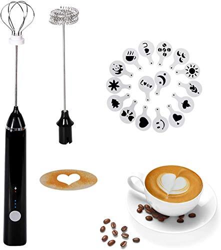 Montalatte Elettrico Schiumatore, testina del frullino a doppia molla USB Ricaricabile 3 Velocità frullino montalatte elettrico con 16 pezzi Stencil d'arteper latte/caffè/Cappuccinatore(Nero)