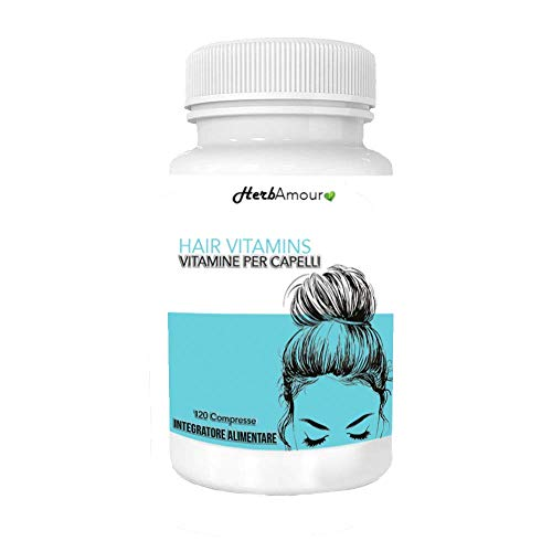 HerbAmour Hair Vitamins Biotina I Integratore Alimentare Per Capelli Donna I Anticaduta, Rinforzante, Per Bellezza E Crescita I Formulazione Innovativa Con Biotina I 120 Compresse Ad Alto Dosaggio