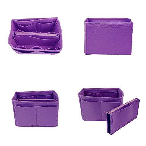 LSZA Borsa per Cosmetici,Women's Makeup Organizer Felt Cloth Insert Bag Multi-Functional Travel Cosmetic Bag Girl Storage Toiletry Liner Bags,Purple,Small