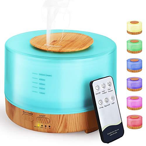 Hianjoo Diffusore di Aromi con Bluetooth 500 ml [2020 Aggiornato], Umidificatore Ultrasuoni Diffusore di Oli Essenziali con 7 LED Colori per Spa,Yoga,Camera da Letto - Regali di Grande Scelta