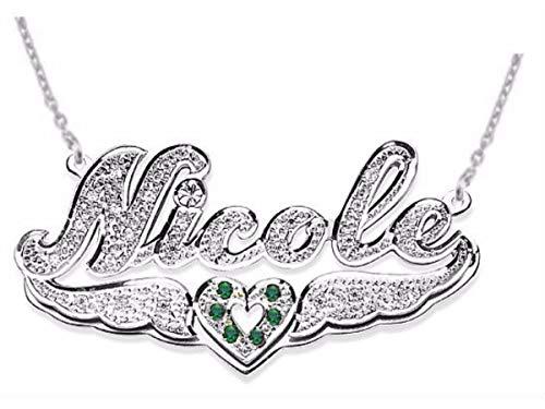 RYLOS Collane da donna in oro per donne e uomini in argento Sterling o oro giallo placcato argento personalizzato 15 mm diamante 3D ombra doppia targhetta collana con catena 45,7 cm
