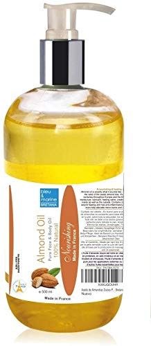 Olio di Mandorle ● Ideale per ogni tipo di pelle ● pelle sensibile e per la cura del bambino. Ideale come olio di base massaggi ● Molto buono con oli essenziali 500 ml