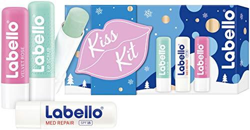 Labello Kiss Kit (3 x 5,5 ml), set regalo con Labello Lip Scrub, Labello Med Repair e Labello Velvet Rose, set per la cura delle labbra per un bacio extra delicato durante l'inverno.