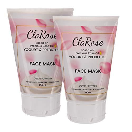 ClaRose Maschera viso illuminante detossificante con olio essenziale di rosa 100% naturale, yogurt e prebiotici; 2 x 100 ml