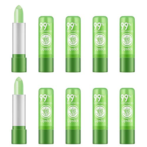 Ownest 10 pacchetti Aloe Vera Rossetto, Long Lasting Lenitivo Lip Balm nutriente, idratante labbra Color Magic Temperatura cambiamento cura delle labbra rossetto