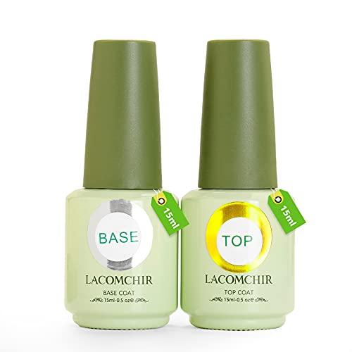 Lacomchir Base e Top Coat Smalto Semipermanente per Unghie in Gel Trasparente 15ml x 2pcs UV LED Soak off Smalti Semipermanenti Gel Nail Polish Manicure kit