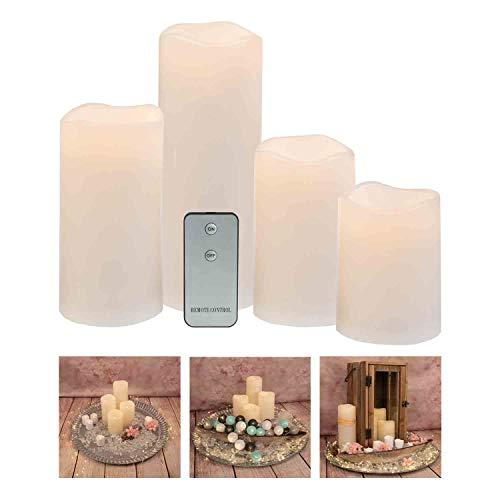 Idena 30474 - Candele a colonna a LED, 4 pezzi, con luce tremolante bianco caldo e telecomando, a batteria, altezza circa 10/12/15/20 cm, decorazione per Natale, come luce d'atmosfera