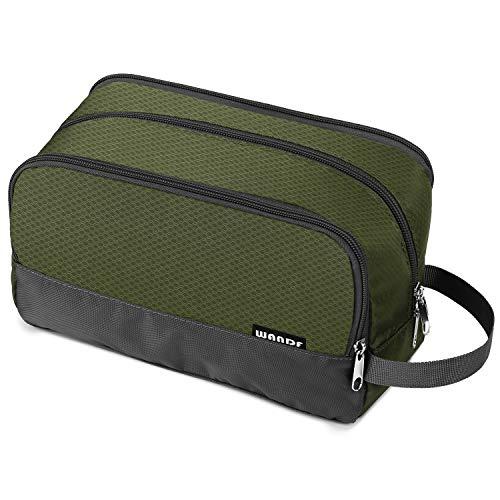 WANDF Toiletry Bag Piccolo Nylon Dopp Kit Sacchetto da barba Leggero {Verde Militare}