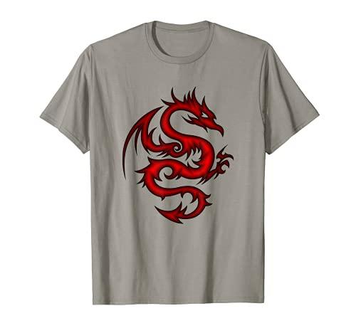 Drago rosso astratto tribale o asiatico ispirato Maglietta