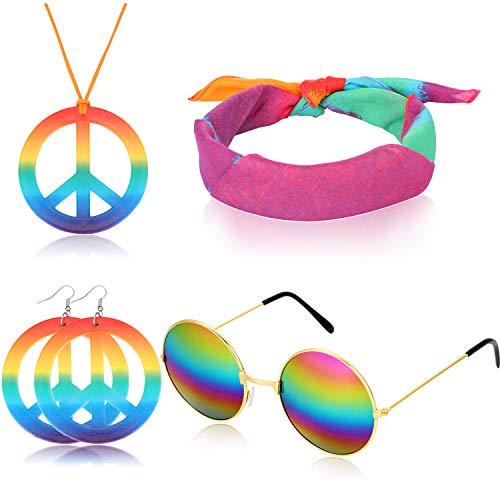 meekoo 4 Pezzi Accessori per La Fascia Hippie Set di Costumi Hippy Anni '60 Include Gli Occhiali Hippie, Collana di Segno di Pace Arcobaleno, Fascia per Capelli, Orecchini Hippie Segno di Pace