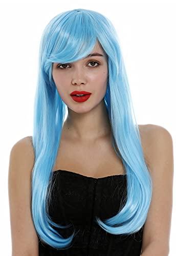 WIG ME UP-0825-TF2513B Parrucca Donna Lunga Liscia Elegante Riga Blu Azzurro