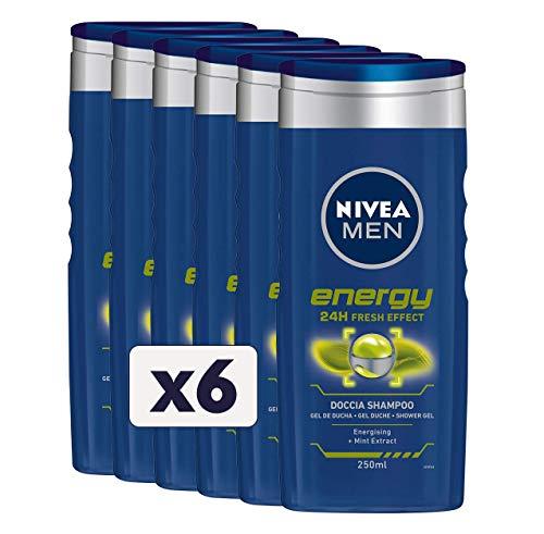 NIVEA MEN Energy Fresh Effect Doccia Shampoo in confezione da 6 x 250 ml, Bagnoschiuma uomo per corpo, viso e capelli, Shampoo uomo con estratti di Menta