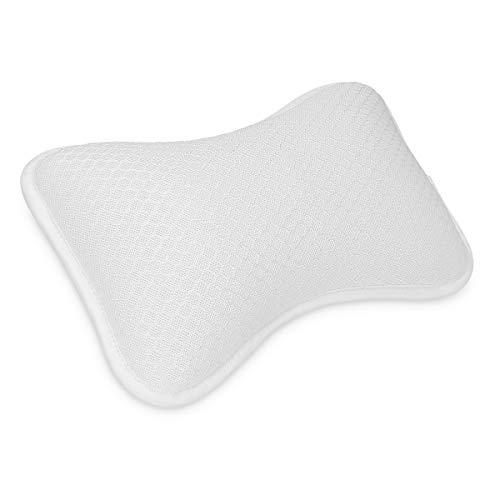 Navaris Cuscino Vasca da Bagno Extra-Comfort - Poggiatesta Air Mesh con 2 Ventose - Relax per Schiena Spalle Collo - per Piscina Idromassaggio - Bianco