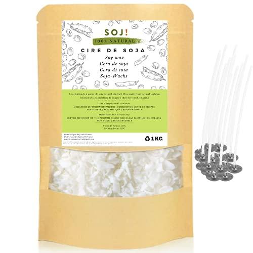 Soj! | stoppini in omaggio | Cera di soia vegetale 100% pura e naturale per la creazione di candele, cera per candele, marca francese | 1 kg