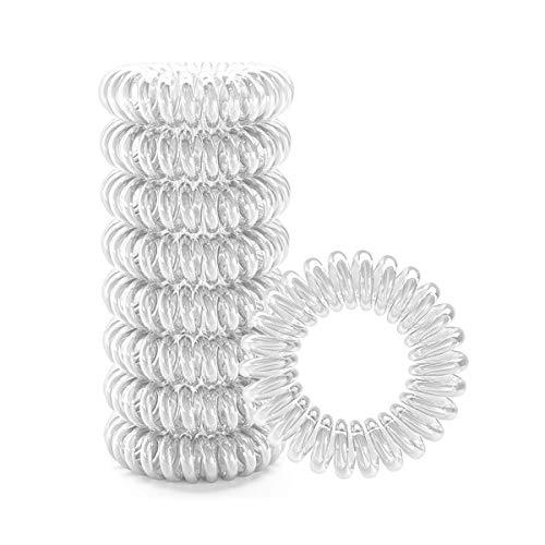 Elastico per capelli a spirale, colore trasparente, confezione da 9 pezzi