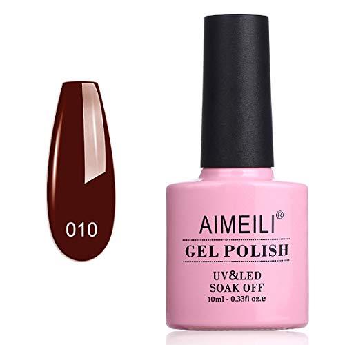 AIMEILI Smalto Semipermente per Manicure Smalti per Unghie in Gel UV LED Soak Off Rosso (010) 10ml