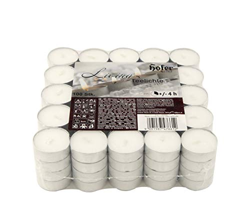 Hofer Tealight/Provantis/Candele 100 Pezzi - Durata 4 Ore - Tea Light Candeline Cera antigoccia - Lumini Non profumati di Colore Bianco Naturale - 1 x Set di 100 Pz