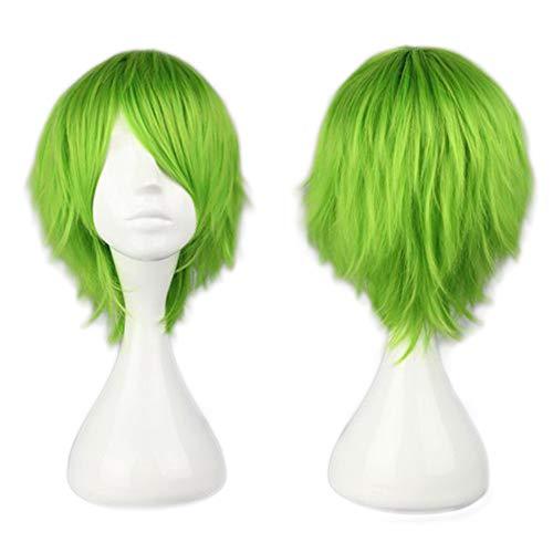 SEGO Parrucca Donna Uomo Verde Corta Cosplay Halloween Parrucche con Frangia 30cm Wig Straight Capelli Sintetici Lisci Full Head per Costume Carnevale Party