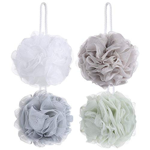 Tbestmax - Confezione da 4 spugne di luffa da bagno o da doccia, in rete, esfoliante per il corpo