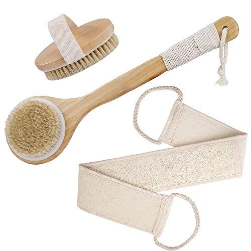 Spazzola per il Corpo Manico Di Bambù Spazzola per Doccia Spazzola da Bagno in Setola di Cinghiale Naturale Scrubber Posteriore per Massaggio