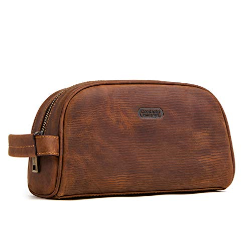 Contatti Crazy Horse Cow Leather Zipper Dopp Kit Travel Toiletry Bag (marrone)