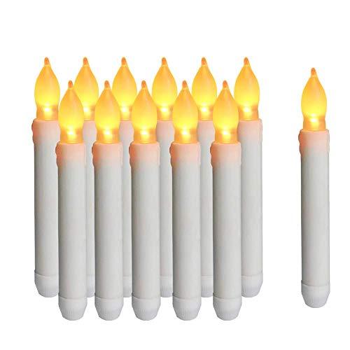 Cotek Candele a LED senza fiamma, 12PCS Candele coniche a LED di Natale a batteria per chiese di compleanno di nozze e decorazioni per feste