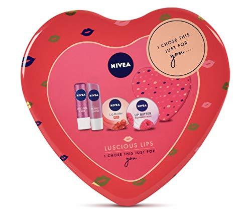 Nivea Luscious Lips Set regalo per la cura delle labbra, per lei, 4 pezzi
