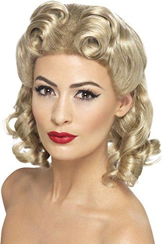 SMIFFYS Smiffy's Parrucca con boccoli Anni '40, bionda, con Ricci Capo d'Abbigliamento, Giallo (Blond), Taglia unica Donna
