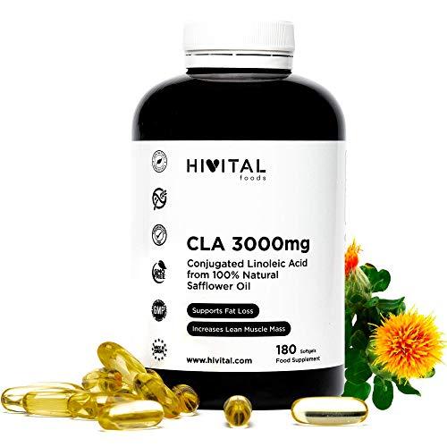 CLA Acido Linoleico Coniugato 3000 mg per dose | 180 softgels di Olio Vegetale di Cartamo 100% Naturale | Per perdere peso, bruciare i grassi e aumentare la massa muscolare durante l'allenamento