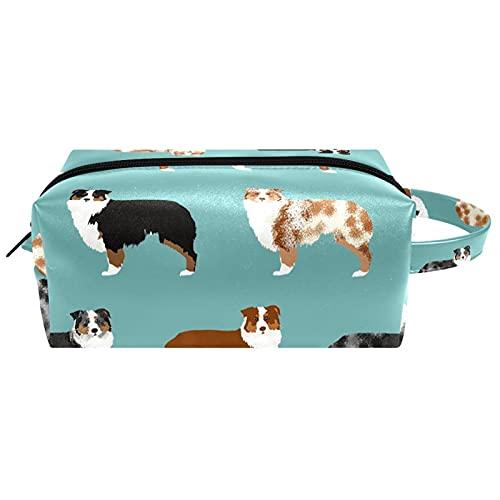 Borsa per il trucco, piccola borsa da viaggio portatile per cosmetici toilette portatile con cerniera di grande capacità ragazza Cane da pastore australiano