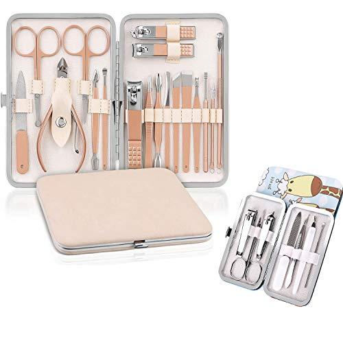 Tagliaunghie Set Professionale,Set Manicure,Pedicure Manicure Set, set manicure uomo, Kit per la cura delle unghie da donna, kit professionale per strumenti per manicure e pedicure(18+7 Pezzi)