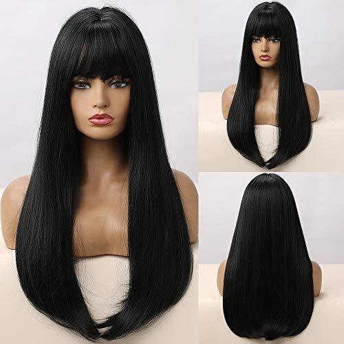HAIRCUBE Parrucche lunghe e lisce Capelli per donna Moda Parrucche miste nere e ciano Parrucca sintetica molto naturale con Blunt Bang Party o uso quotidiano
