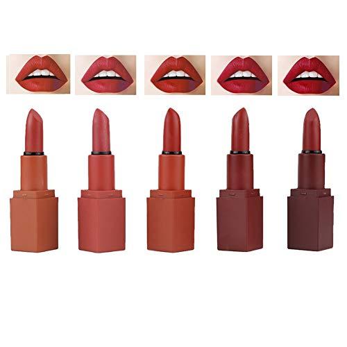 Set di rossetti opachi a 5 colori Trucco per labbra Rossetto naturale di lunga durata, Lucidalabbra Cosmetici Facile da colorare Lunga durata senza sbiadire Migliora il fascino