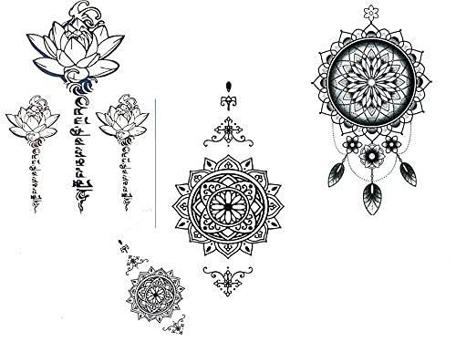 Set di 4 tatuaggi con motivo mandala, acchiappasogni