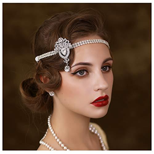 SWEETV 1920's Flapper Headpiece Great Gatsby 20s Art Déco Accessori per capelli Fascia
