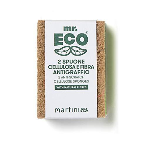 Mr.Eco Martinispa Spugna Doppia Azione - Cellulosa e Fibra Antigraffio, Verde, Marrone, 30 G