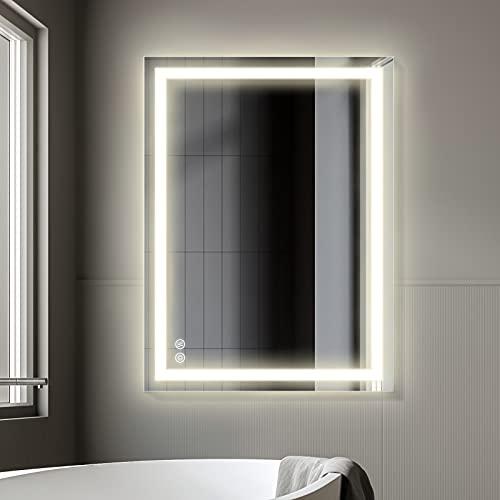 Specchio da bagno a LED con illuminazione FAUETI, 80 x 60 cm, dimmerabile, 4200 K, con interruttore touch + anti-appannamento IP44, a risparmio energetico