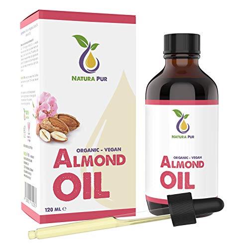 Olio di Mandorle Dolci Puro 120 ml – 100% BIO, naturale, spremuto a freddo, bio, vegano – siero anti-età per viso, anti-rughe, corpo, capelli, pelle, mani, unghie