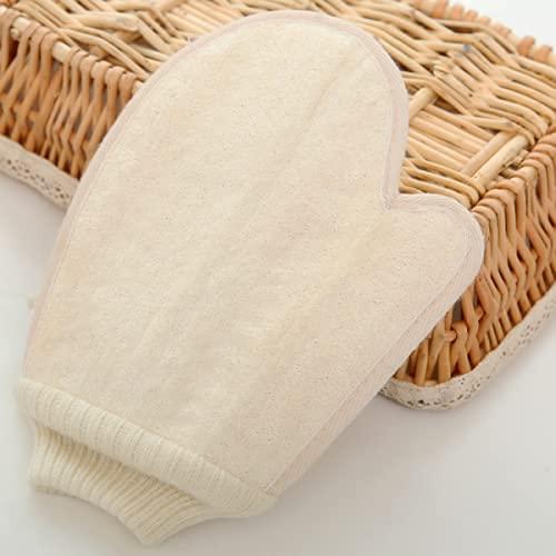 Guanto da bagno esfoliante in fibra di canapa naturale in Luffa Loofah scrubber Glove