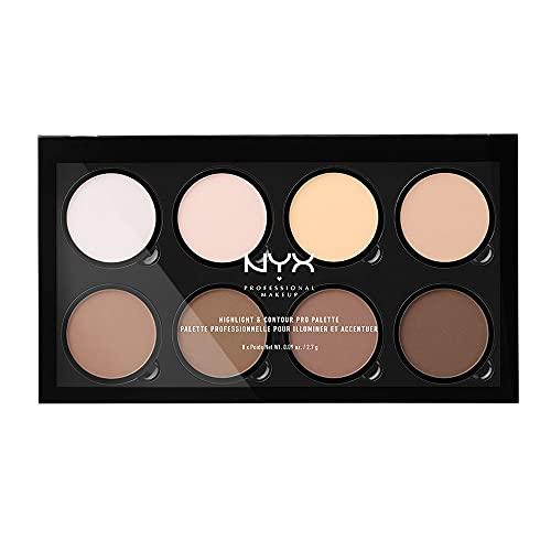 NYX Professional Makeup Palette Contouring Highlight&Contour Pro, Contouring Kit in Polvere, Otto Tonalità Matte e Perlescenti, Confezione da 1