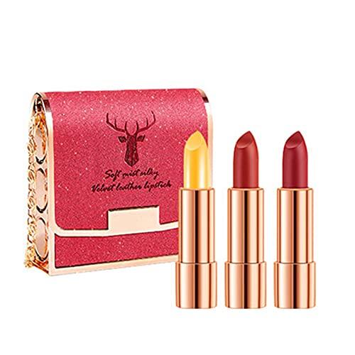 Confezione da 3 rossetti, sacchetto glitterato, rossetto con cambio di temperatura, balsamo per labbra e specchio per il trucco, facile da carr (oro)