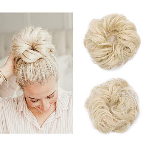 Elailite Chignon Capelli Finti Extension Elastico Biondo Ponytail Hair Extensions Toupet Donna Scrunchie Posticci Ricci, Biondo Chiarissimo