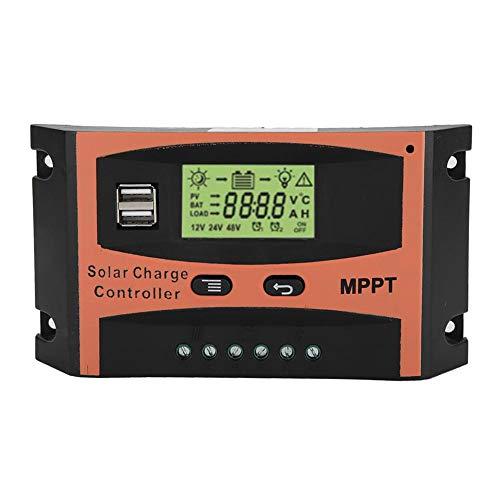 Regolatore di carica solare MPPT, regolatore di batteria a pannello solare 12V/24V con display LCD, protezione da sovraccarico per casa, industria, commercio, 60A(60A)
